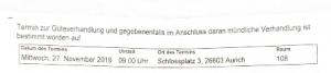 Ladung Landgericht Aurich
